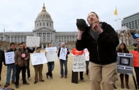 Protestors oppose SOPA legislation in front of the White House early this year.