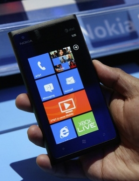 A Nokia Lumina 900 Windows smartphone is displayed during the 2012 International Consumer Electronics Show (CES) in Las Vegas.