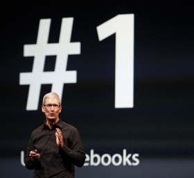 Apple CEO Tim Cook takes the stage at Apple's Press event last week.
