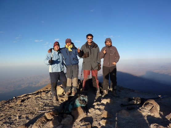 Mountaineering team and I (far left) at the 6075m summit of Chachani outside of Arequipa, Peru