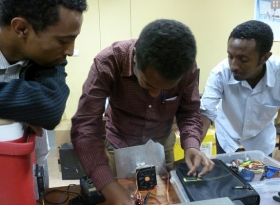 Engineers at the Addis Ababa Institute of Technology in Ethiopia conduct tests on a CoolComply prototype.